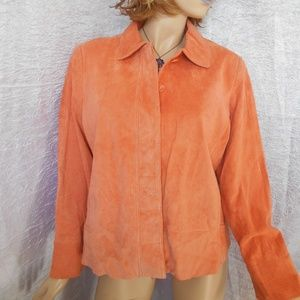 Nwt TERRY LEWIS 14P Coral 100% Leather Jacket Coat